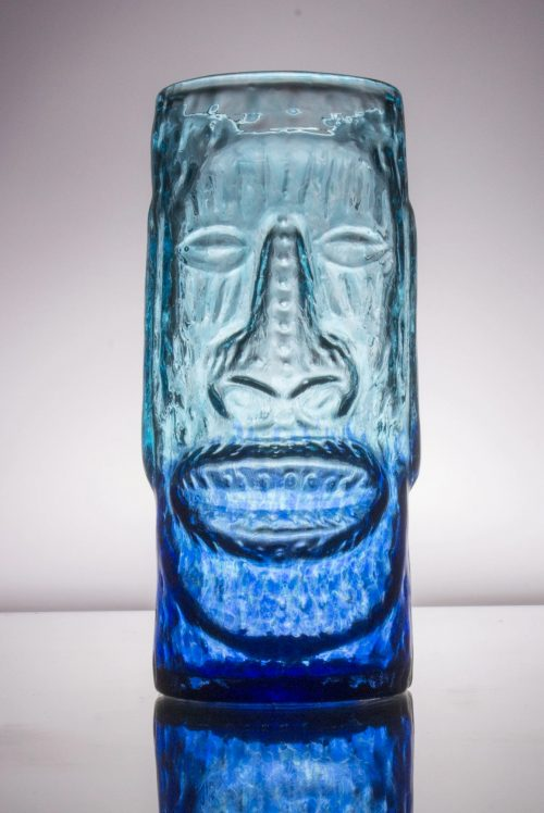 Moai Glass Tiki Mug - Blue Lagoon