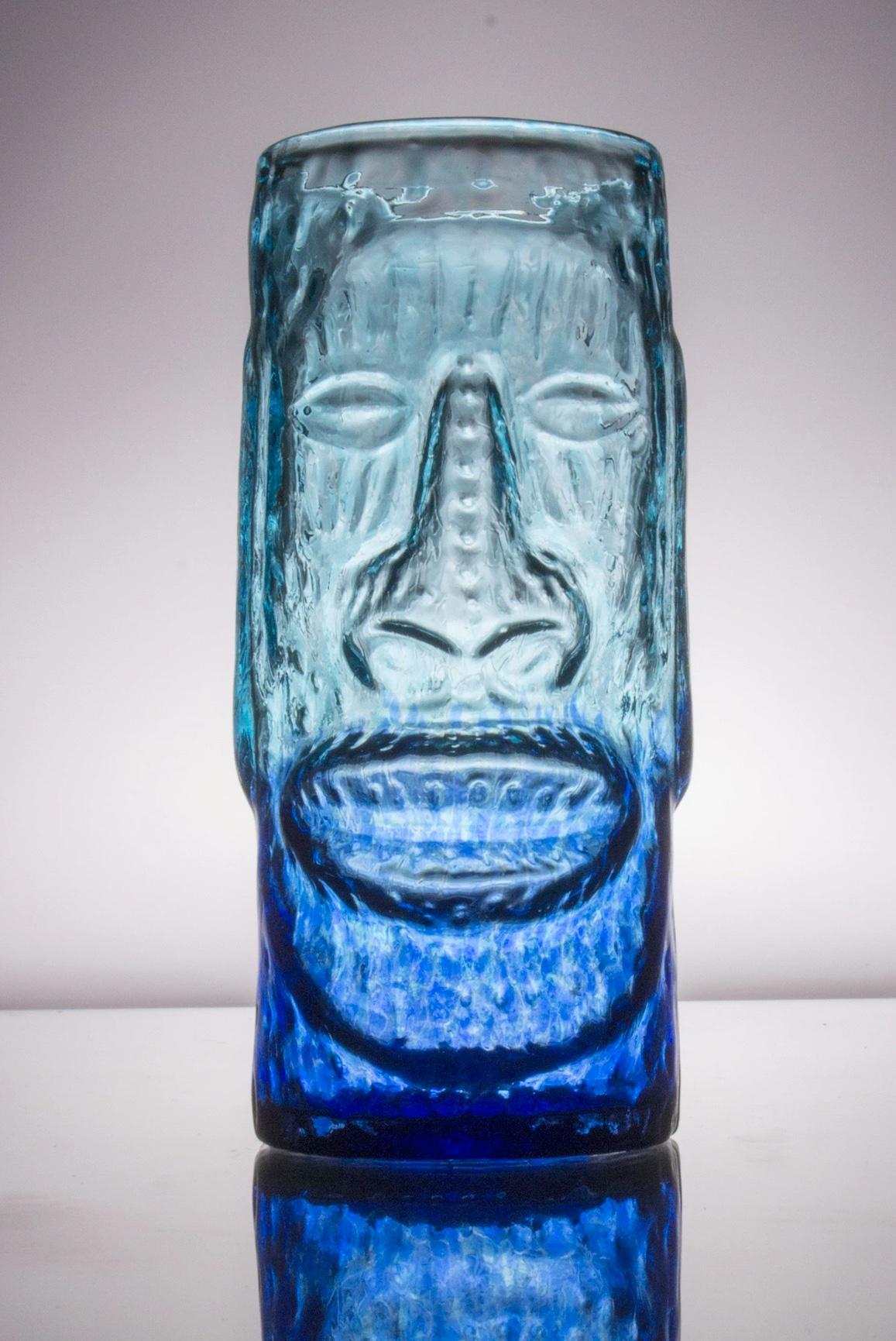 Moai Glass Tiki Mug - Blue Lagoon